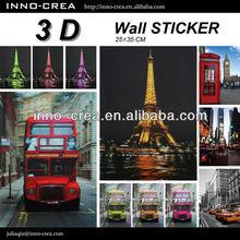 3D Wall Sticker Home Decor- Bus/Eiffel Tower/Building Design
