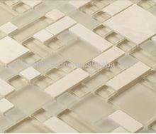 New Product Beige Stone Mix Glass Mosaic Decorative Wall Tile Kitchen Design