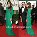 Angelina Jolie en la alfombra roja elegante de manga larga vestido de noche