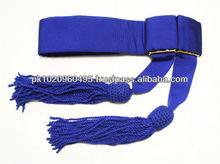 Military officer knitted and Twisted Blue Waist Sash   Waist Sash   Ceremonial Waist Sash