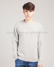 Men 100% pure cashmere sweater crew neck pullover L13DH8612
