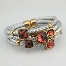 Five Layer Genuine leather bracelet Diamond Charm Jewelry Hand-knitted Love Jewelry
