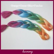 Omber rainbow color jumbo braid hai/synthetic jumbo braiding hair/x-pression synthetic braiding hair---Orange+Green+Blue+Fuschia
