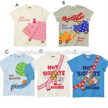 Bebé corto de manga de dibujos animados los niños t- shirt galleta caliente patrón