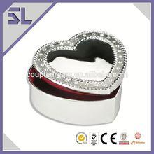 Zinc-alloy Heart Shape Metal Trinket Box Mini Jewelry Box Alibaba Supplier