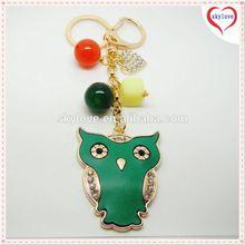 Fashion new owl design zinc alloy crystal keychain