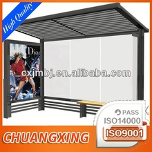 outdoor stainless steel bus stop with AD board