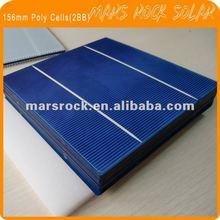 Grade A 4.14Watts Polycrystalline Silicon Solar Cells 156x156 (2 Busbar)