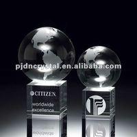 Crystal Globe on Crystal Cube Award cheap custom trophies