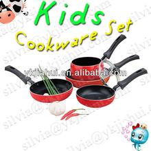 4pcs FDA&LFGB Approved Cheap Aluminum Pressed Non Stick Kids Kitchen Cookware Set (JMS-002)