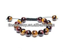 Novelty Bracelets Tigers Eye Shamballa Inspired Bracelet Unisex Round Beads 12mm