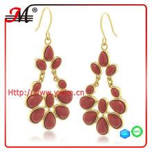 ER4322 Coral Colored Sunset Medium Chandelier Pierced Earrings