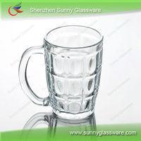 glass coffee mug with square handle,glass mug with decal