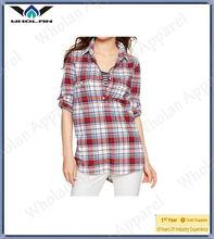 New design shirt tunic plaid lady cotton blouse