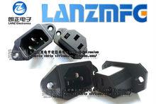 Lanzmfg AC Power socket C14 ,Housing:Nylon, Terminal:Copper Folder, Rohs