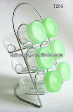 90ml colorful plastic cap round glass cruet kitchen set