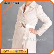 Newest Design Women's White Wool Korea Style Coat