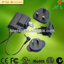 Universal interchangeable plugs 5.5V AC DC Power Adapter