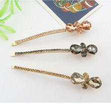 Hair crystal rhinestone bobby pins, flower gold plating metal bobby pins