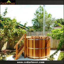 Soaking bathtub red cedar hot tub round wood tube