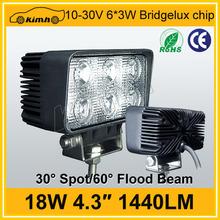 "hot sale auto work light Bridgelux LEDs 4.3"" 10-30v 18w led work light"