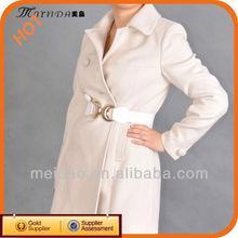 Latest Design Women's Winter White Wool Coat