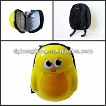 lovely 3D cartoon yellow chicken pattern korean style backpacks ABS shool case for pupils