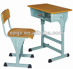 Adjustable single student desk & chair,Adjustable study desk for school,Wooden top with steel frame adjustable student desk
