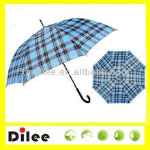Regular can print logo beautiful color check curved handle straight umbrella
