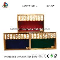 Wooden game shut the box