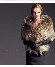 0201 Genuine raccoon fur Shawl poncho stole shrug cape robe tippet amice wrap