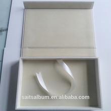 portrait photo box white linen presentation box made in China