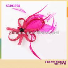 Somnus Fashion Ladies' Netting Headwear Factory Wholesale Hair Accessory Sinamay Feather Hair Fascinator