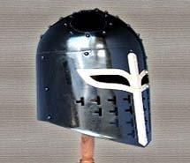 Medieval barril capacete( preto com encaixes de bronze)