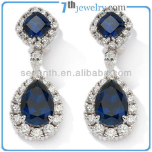 American Style Blue Lucky Stone Rhodium Plated Sapphire Earring