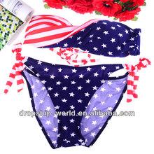sexy trenzado nosotros impresión de la bandera de la correa acolchada bikini traje de baño