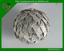 handmade birch bark Christmas wooden ball