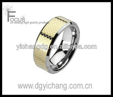 Spikes Tungsten Carbide Gold IP Laser Etched Checkered Band Ring