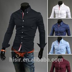 2014 New Decorative Ribbon Concise Fashion Men's Korean Style Casual Shirt 9007