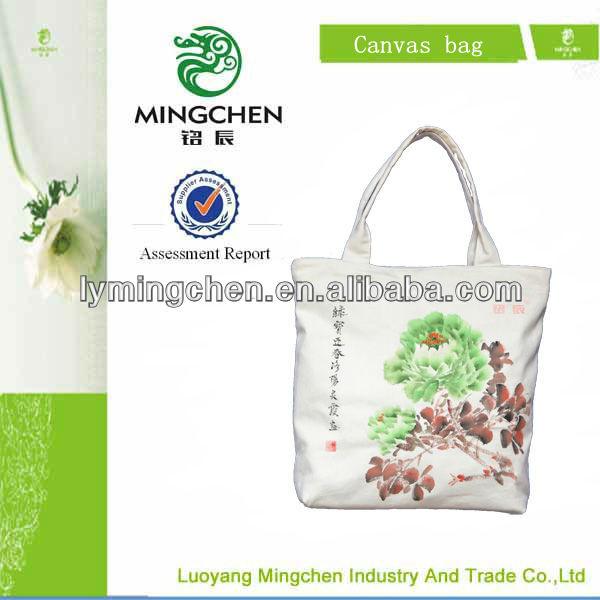 2013 woman handbag hand-painted peony canvas bag, hand bags for women/bags handbags women made in china