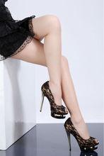 black red lace high heel shoes 2014 3cm platform wedge shoe woman