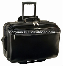 Dongguan Supplier Genuine Leather Luggage Trolley Bags/ Factory Price Wheeled Travel Bags