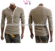 man sexy button fly long sleeve shirt street wear t-shirt mens long sleeve thermal shirts