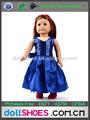 Azul brilhante vestido de boneca, moda menina amerian roupa da boneca, bitty baby doll vestido