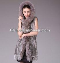 TT625 classic casual rabbit fur long vest handknit with raccoon fur trimming