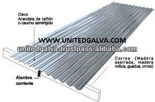 Galvanizado Por Inmersion en Caliente Hojas Acanaladas 0.12mm 0.14mm 0.16mm 0.18mm