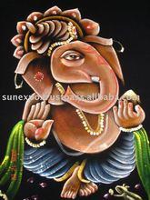 Lord Ganesha Ethnic Religious Velvet Oil Painting Wall Hanging
