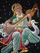 Goddess Saraswati Ethnic Velvet Oil Painting Wall Hanging