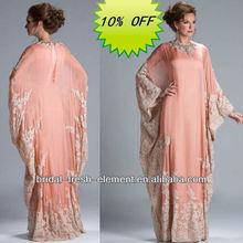Hot Sale Long Good Quality Chiffon Lace Appliqued Elegant Long Sleeve Muslim Evening Dress