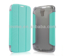 transparent back cover hybrid stand smart pu leather wallet flip case for samsung galaxy s 4 active i9295